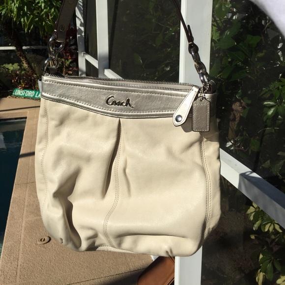 Coach Handbags - Cream & Silver Leather Shoulder/Crossbody Coach